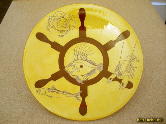Sgraffito Serving Platter