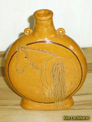 Sgraffito Lugged Flask